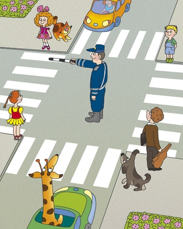 rules of the road: children think, who must first begin to cross the road  Stock Photo