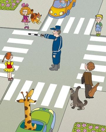passage pi�ton: les enfants pensent, qui doit d'abord commencer � traverser la route Banque d'images