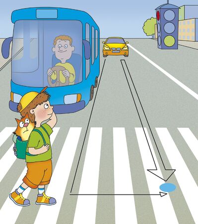 drawing safety: the boy was in the middle of the road, what to do