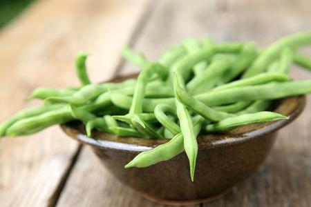 Fresh green beans in a bowl  photo