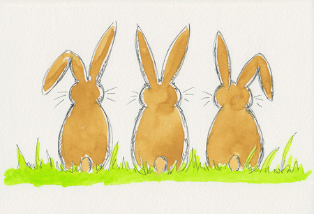 Three easter bunnies watercolor painting