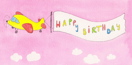 Airplane pulling happy birthday banner watercolor painting photo