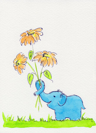 Little elephant holding flowers watercolor painting photo
