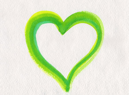 Green watercolor heart painting photo