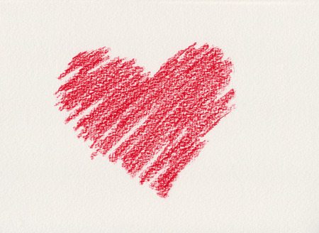 Red heart crayon drawing photo
