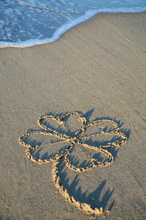 st patrick s day: Four leaf clover painting in sand on the beach Stock Photo