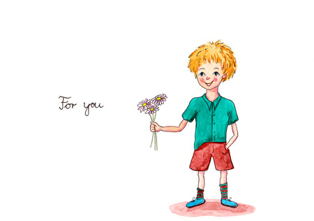 Little Boy with flowers for you watercolor painting photo