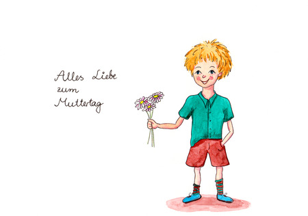 translates: Watercolor painting with handwritten german text Alles Liebe zum Muttertag translates into Happy Mothers Day