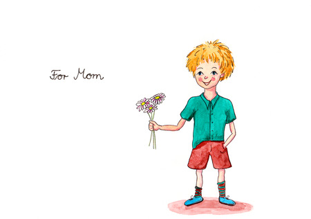 Mother s day painting boy giving flowers with handwritten text For Mom photo