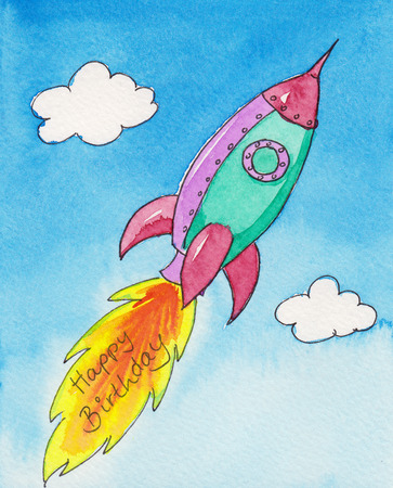 s eve: Birthday rocket watercolor painting