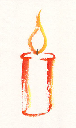 christmas watercolor: Zen candle watercolor painting Stock Photo