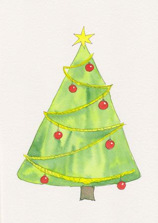christmas watercolor: Christmas tree watercolor painting Stock Photo