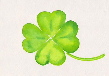 four leaved: Four-leaf clover watercolor painting Stock Photo