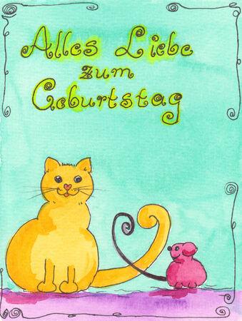 translates: Watercolor painting with handwritten german text Alles Liebe zum Geburtstag translates to Happy birthday Stock Photo