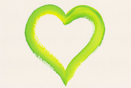 Green heart shape watercolor painting photo