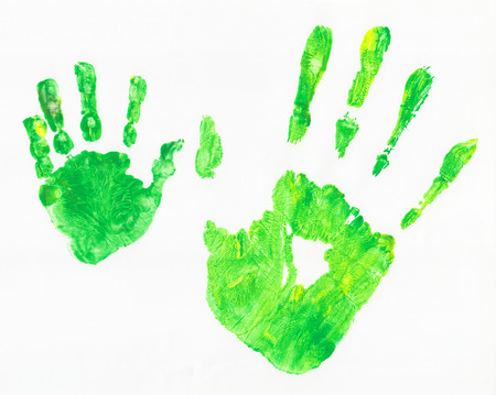 green hand: Green hand prints of child and parent