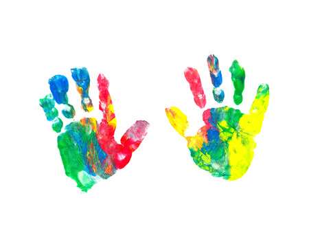 Colorful hand prints of a child photo