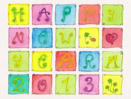 Happy new year watercolor painting photo