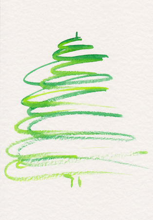 Abstract Christmas tree watercolor painting Stock Photo
