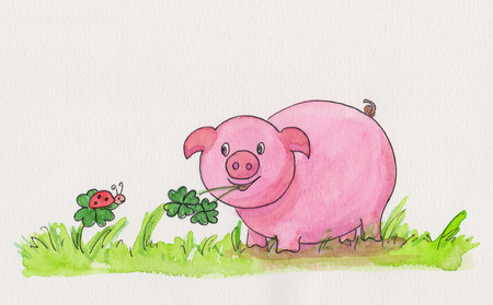 New Year handmade watercolor painting with pig, clover and ladybug photo