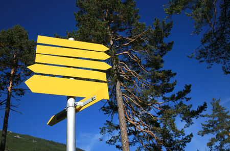 directional: Blank directional signs for hikers Stock Photo