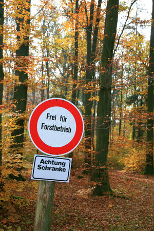 trespassing: German traffic sign saying: Trespassing only for forest service Stock Photo