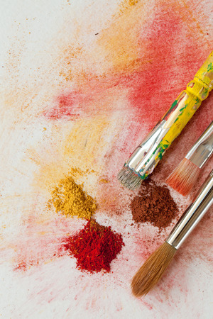 pigment: Artist brushes and paint pigment