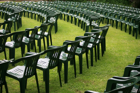 open air: Plastic chairs for an open air gig