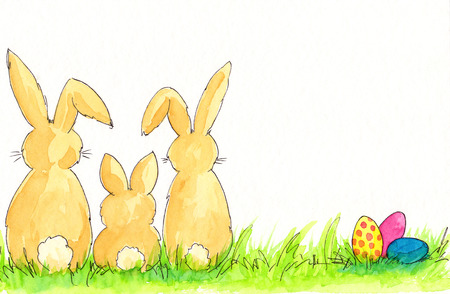 Easter bunnies and Easter eggs watercolor painting photo