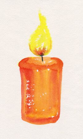 candlelight: Candlelight watercolor painting Stock Photo