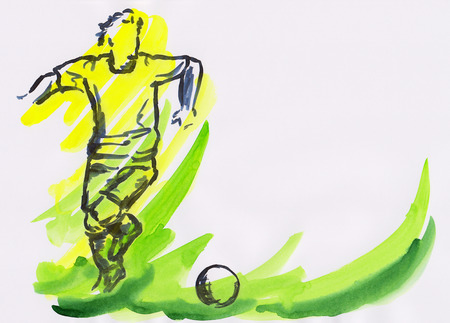 Soccer player watercolor painting photo