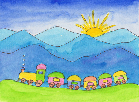 toy train: Toy train watercolor painting