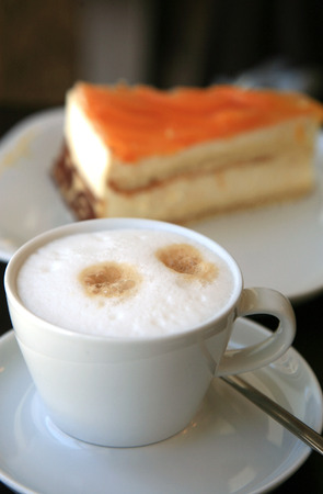 Cappuccino and piece of cake
