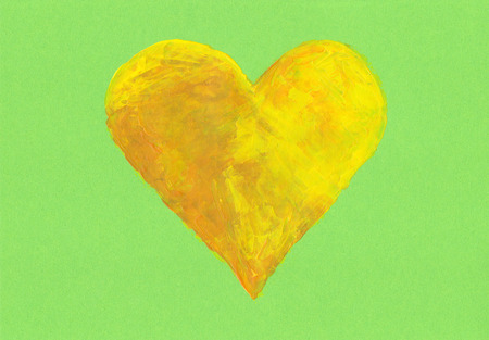 yellow heart: Yellow heart on green background acrylic painting