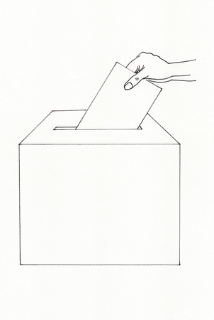 polling booth: Hand inserting an envelope in a ballot box Stock Photo