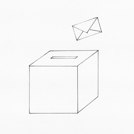 turnout: Voting envelope and ballot box
