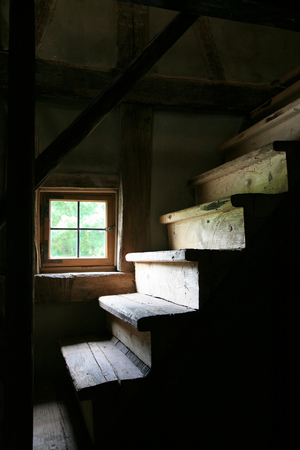 abandoned farmhouse abandoned farmhouse: Old wooden stairs to the attic