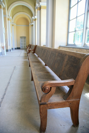 pews: Long bench in a church Stock Photo
