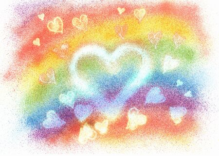 many coloured: Painting with hearts and rainbow colored background