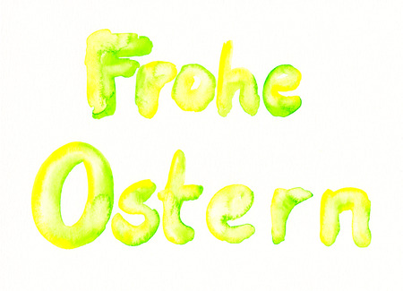 frohe: Watercolor painting of German text Frohe Ostern translates into Happy Easter Stock Photo