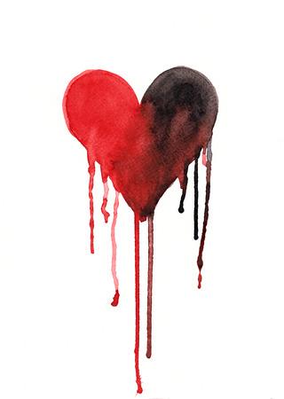 hemorragias: Fundir o llorando pintura a la acuarela del corazón Foto de archivo