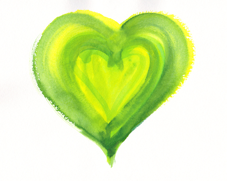 yellow heart: Green and yellow heart watercolor painting
