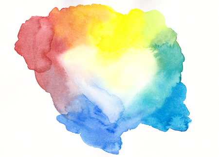 Rainbow colored framed heart watercolor painting