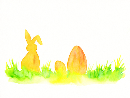 Easter bunny with easter eggs watercolor painting Stock Photo