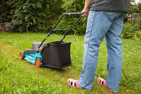 cable cutter: Man mowing the lawn with an electric lawnmower Stock Photo