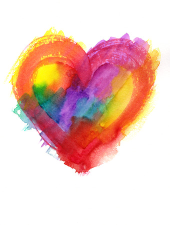 grunge heart: Multicolor grunge heart watercolor painting