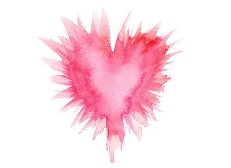 Beaming or exploding pink heart watercolor painting Stock Photo