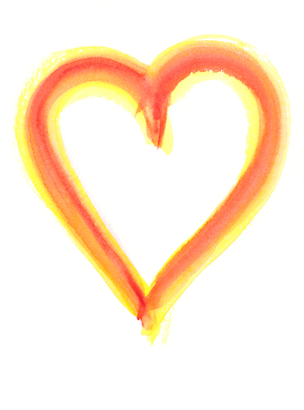 yellow heart: Red and yellow heart shape watercolor painting Stock Photo
