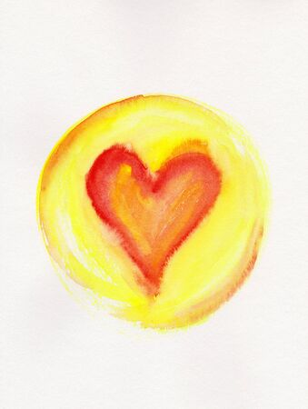 Red heart in yellow circle frame watercolor painting Stock Photo