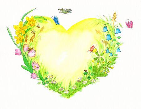 Geel en groen hart waterverf schilderen met lente-gerelateerde thema's Stockfoto